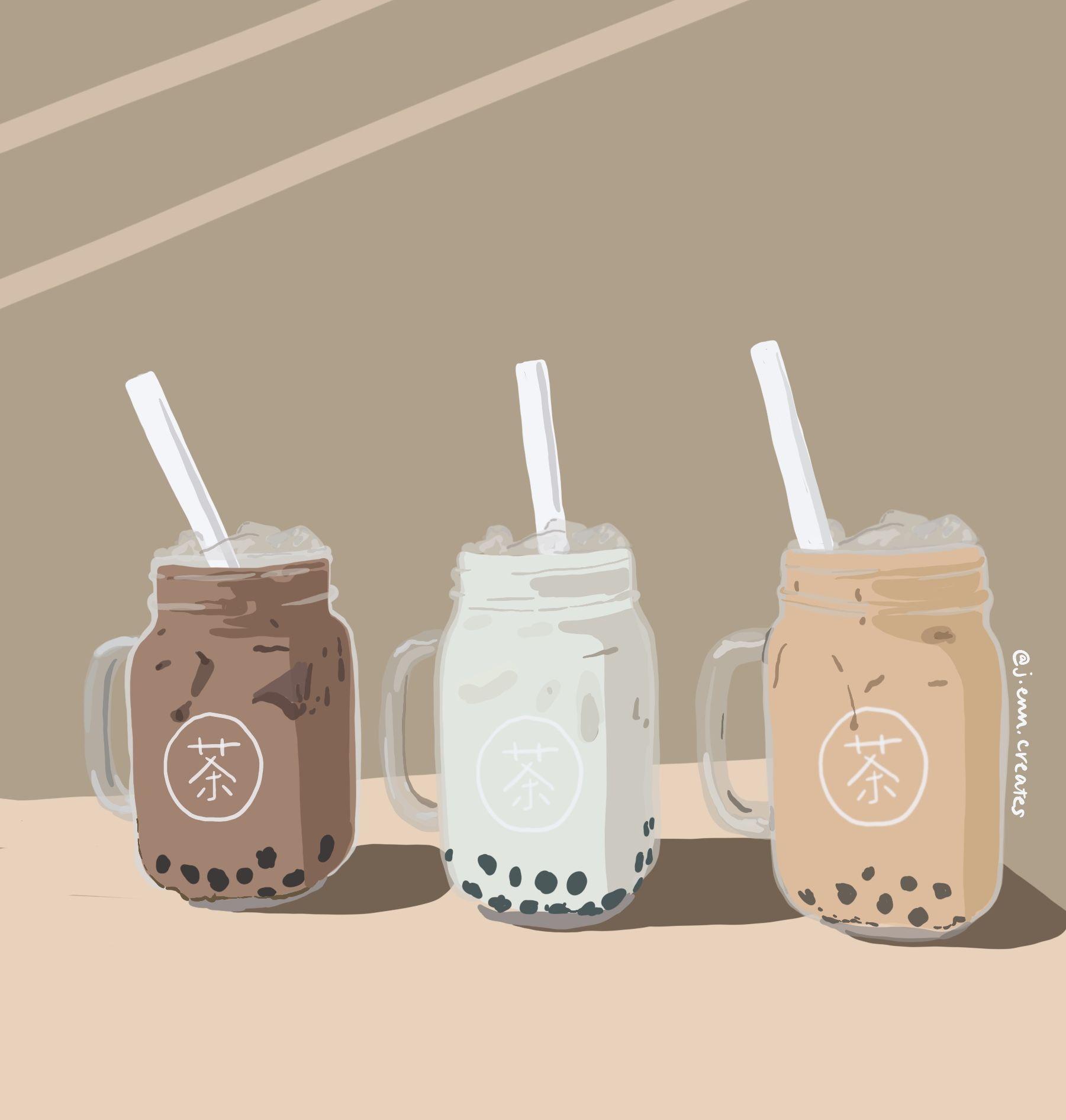 Boba bubble tea tapioca pearls custom drawing illustration ...