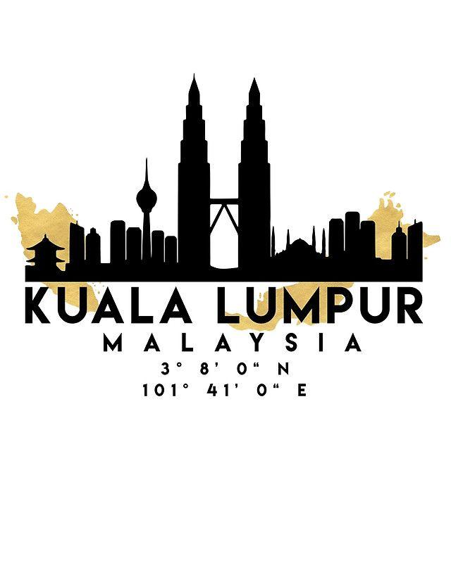 Kuala Lumpur Malaysia Silhouette Skyline Map Art Photographic Print By Deificusart In 2021 Map Art City Silhouette Kuala Lumpur