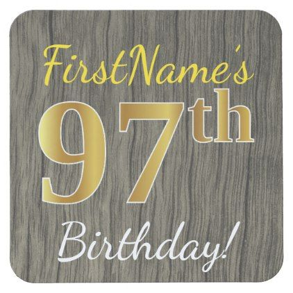 Faux Wood Faux Gold 97th Birthday  Custom Name Square Paper Coaster - elegant gifts gift ideas custom presents