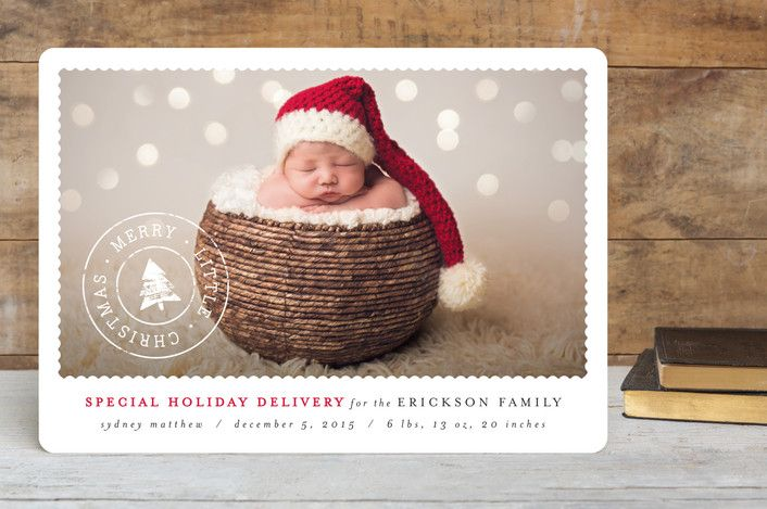 Classic Holiday Post Customizable Holiday Birth Announcements – Birth Announcement Christmas Cards