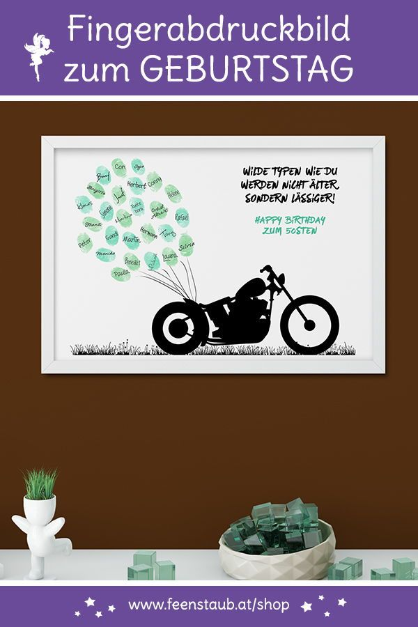 Photo of Birthday guest book canvas motorcycle biker – feenstaub.at | SHOP