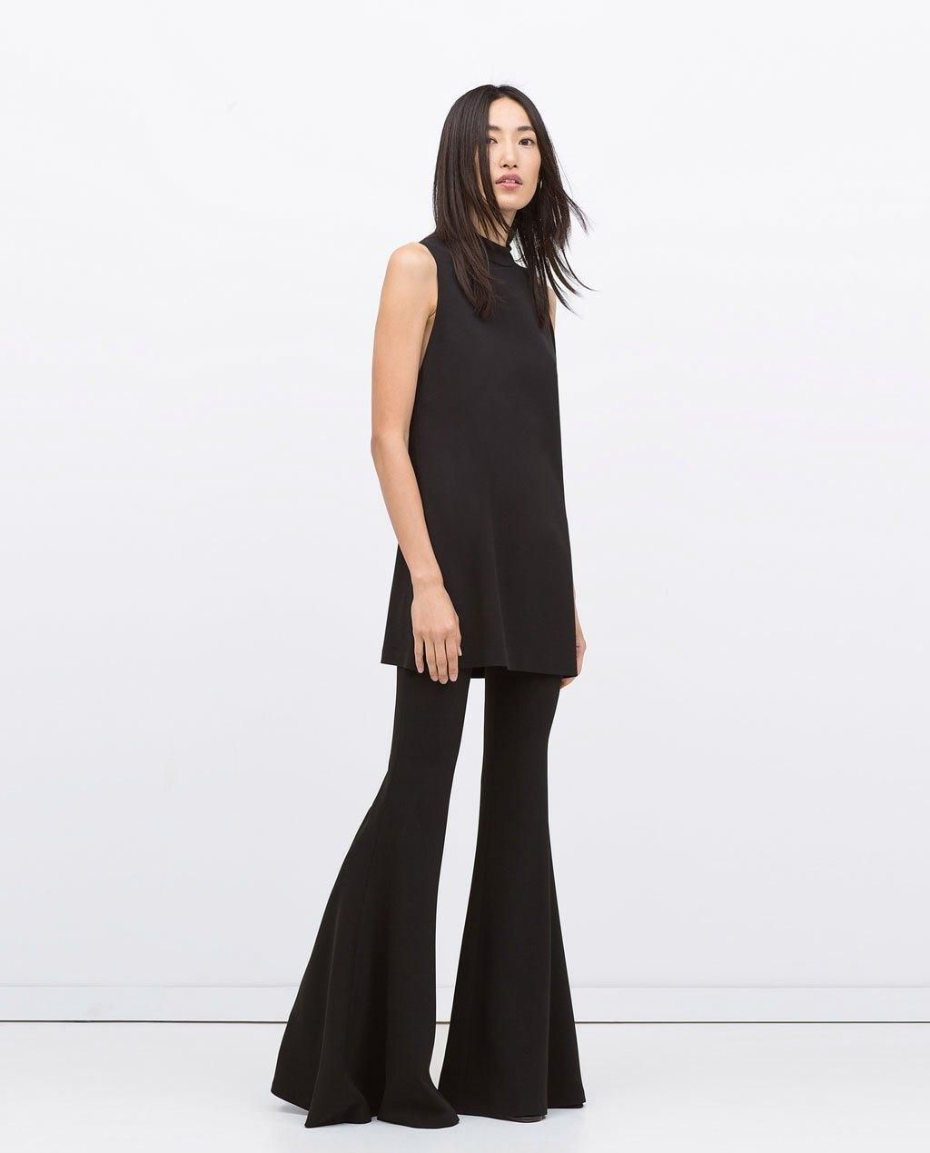 6077ac046cf4 Zara Knocked Off Ellery's Black Flare Pants // Wide Flared Studio Trousers,  $129; at Zara