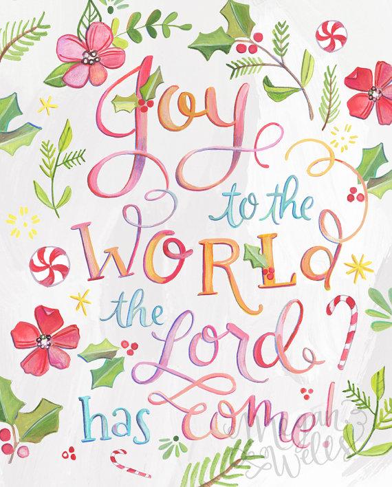 Joy to the World - Christmas Art Print - Holiday Hand Lettered | Christmas art, Joy to the world ...