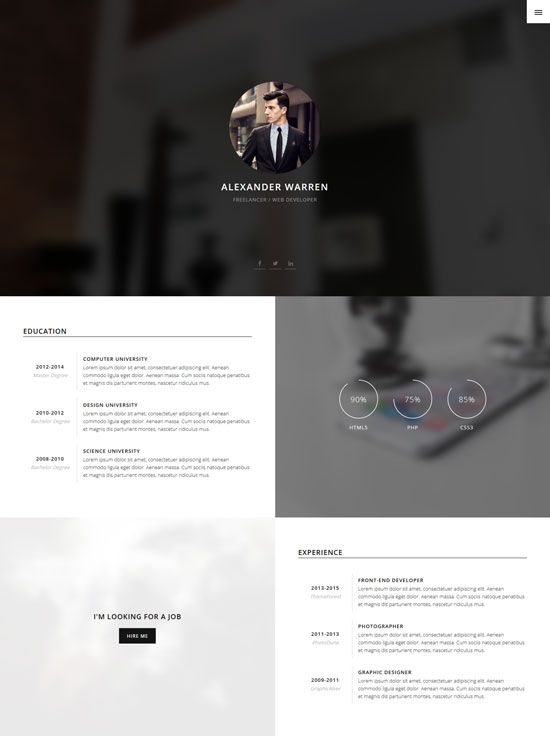Gentleman Ultimate Personal Responsive Cv Bootstrap Vcard Html Template Resume Template Resume Templates