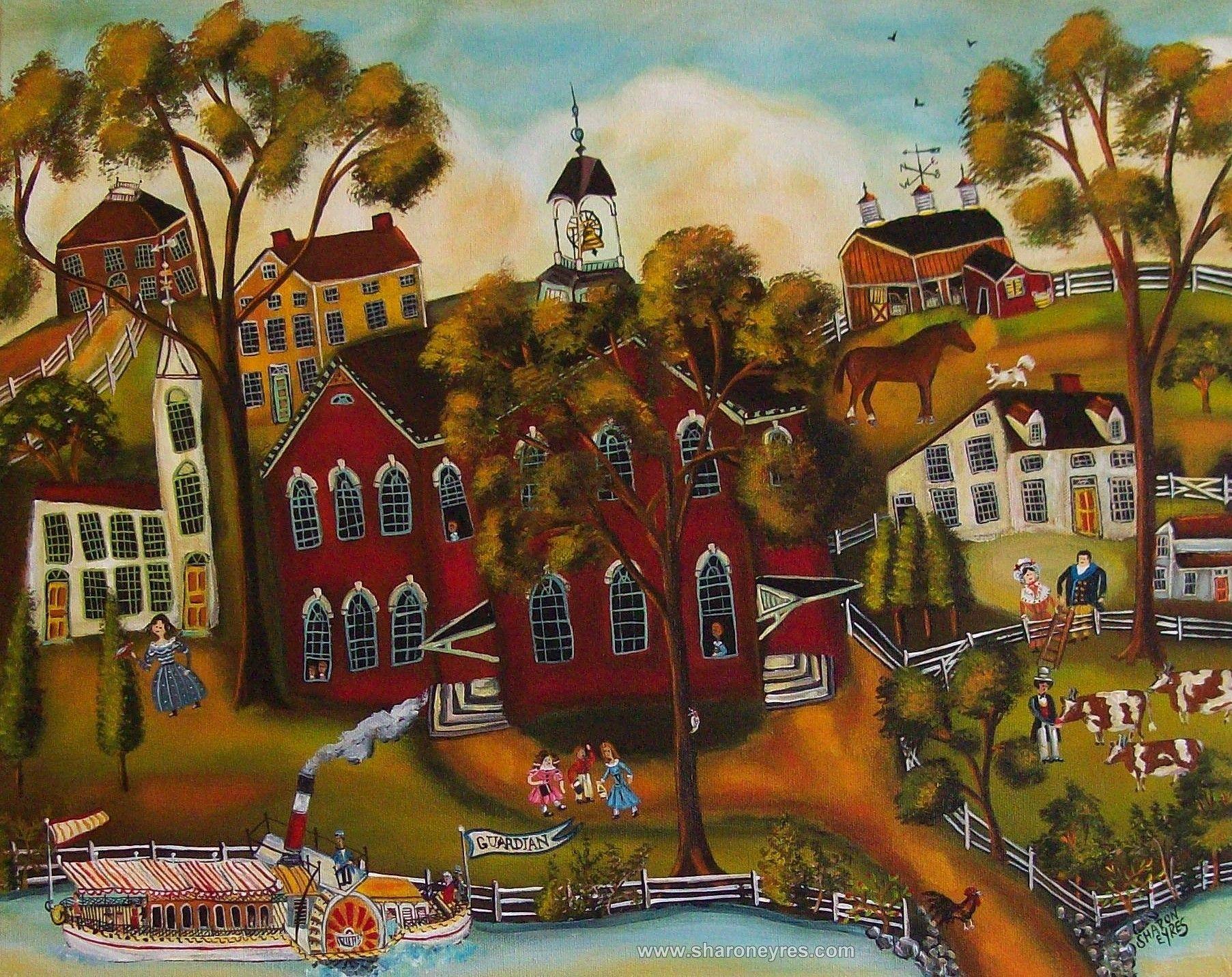 Primitive American Folk Taught Artist Sharon Eyres Art Paintings