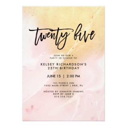 Blush Pink And Gold Marble 25th Birthday Party Invitation Zazzle Com 25th Birthday Parties 25th Birthday Birthday Party Invitations