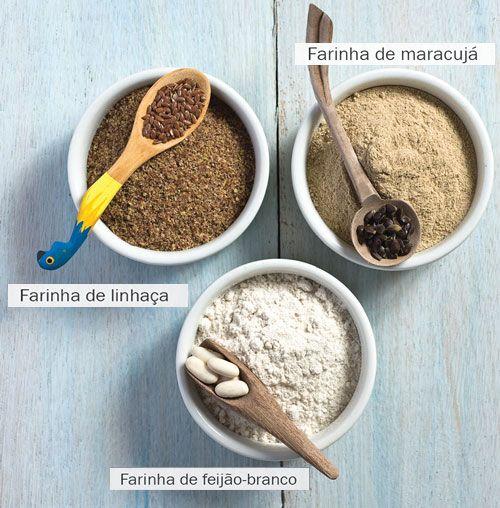 Farinhas de feijão branco, linhaça e maracujá