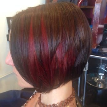 Red Peekaboo Highlights And A Line Haircut Yelp Short Hair Highlights Short Hair Styles Haircut For Thick Hair