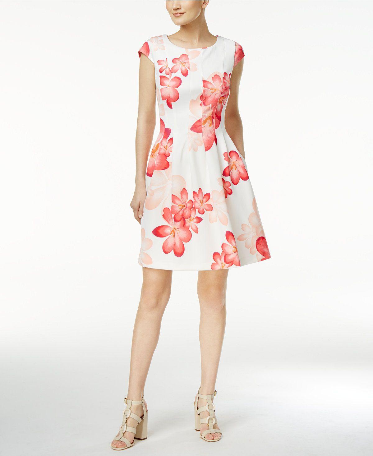 Calvin Klein Petite Floral Print Fit Flare Dress Dresses Women Macy S Flare Dress Fit Flare Dress Dresses [ 1467 x 1200 Pixel ]