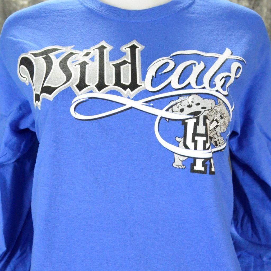 University of Kentucky WILDCAT BLING on LONG SLEEVE BLUE Shirt ... a0220c1305bb