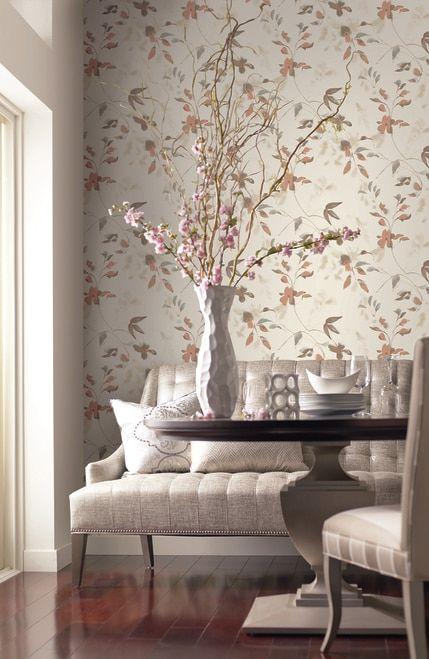 York So2445 Candice Olson Tranquil Linden Flower Wallpaper Orange