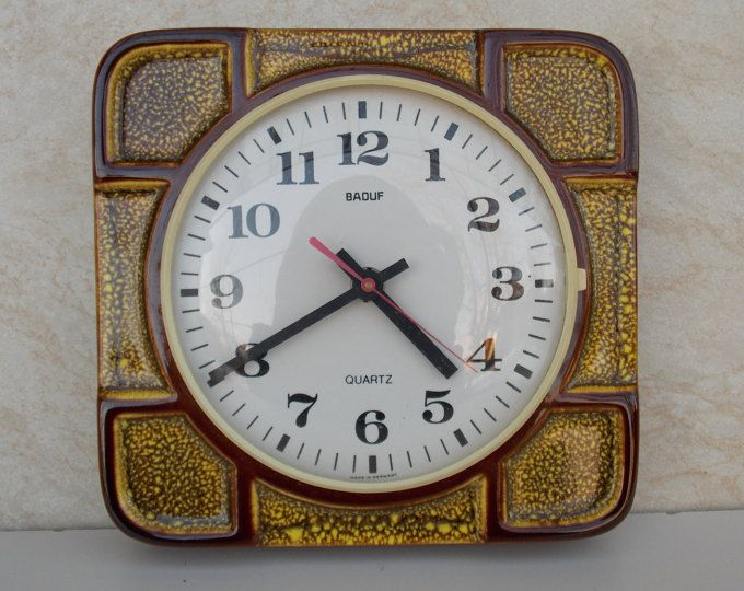 Ceramic Wall Clock Wall Clock Modern Clock Vintage Germany Clock Baduf Clock Brown Orange Clock Kitchen De Vintage Wall Clock Wall Clock Modern Clock