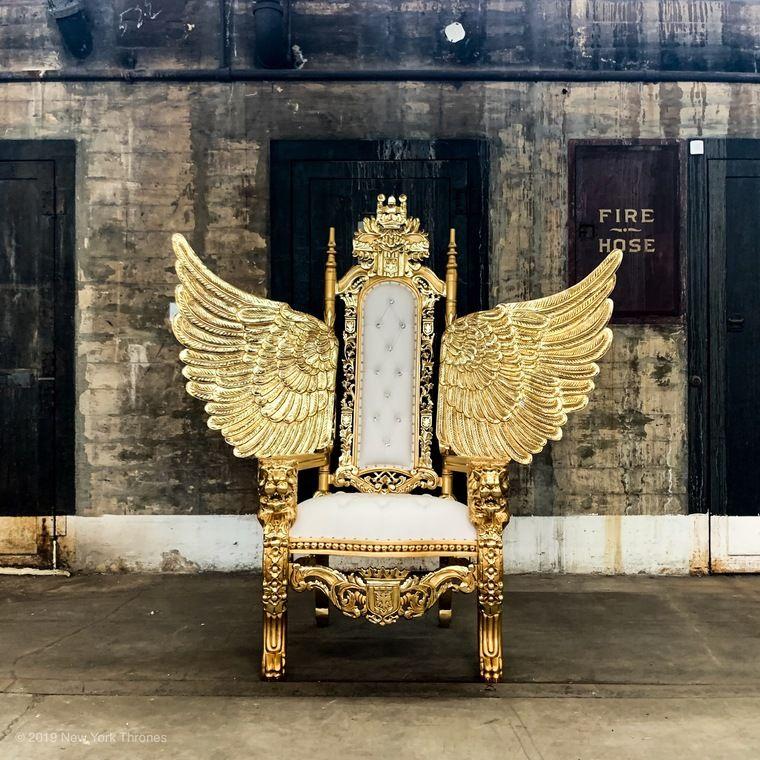 Bushwick Throne Gold White Royal Furniture Throne Chair King Chair