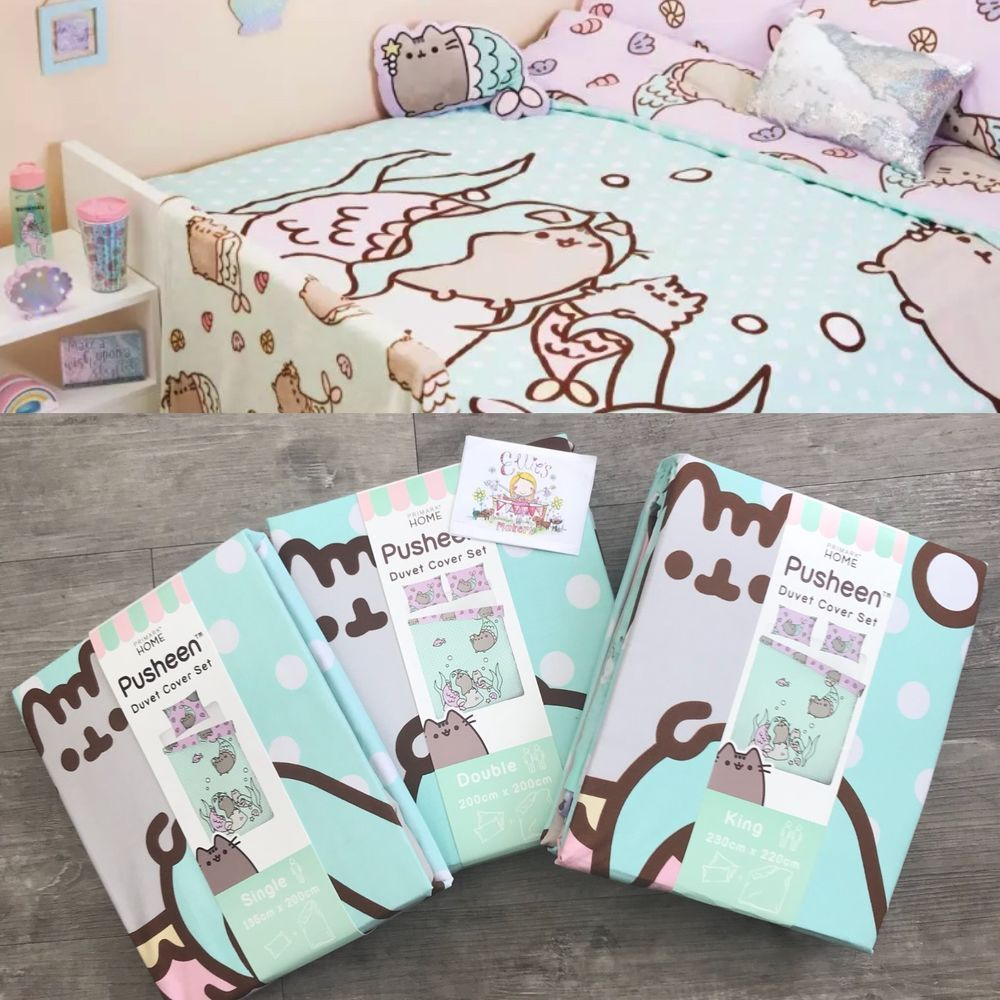 Duvet Cover Set Pusheen Cat Purrmaid Mermaid Primark