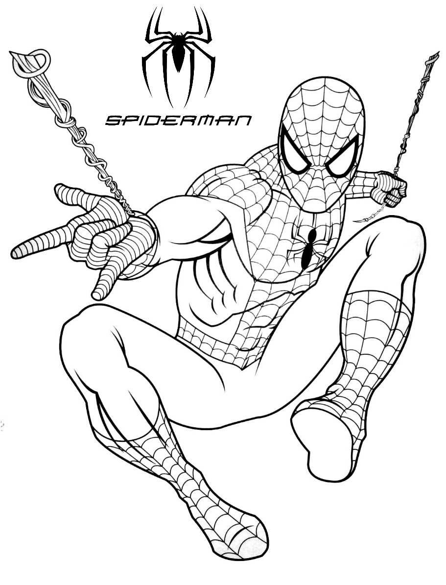 Spiderman web shooting coloring pages for kids – bubakids.com