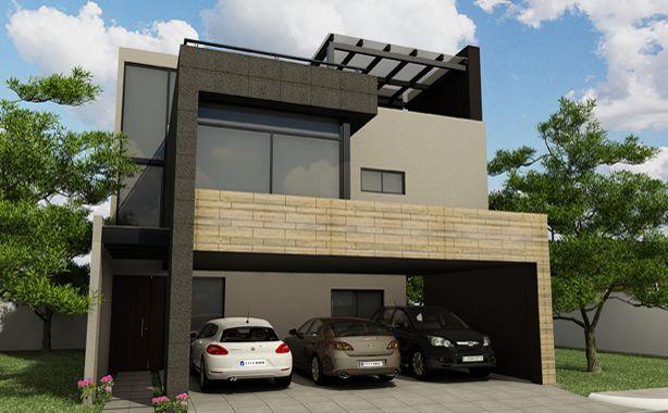 Arquitectura casa residencia fachada construccion for Fachadas de casas minimalistas de 3 pisos