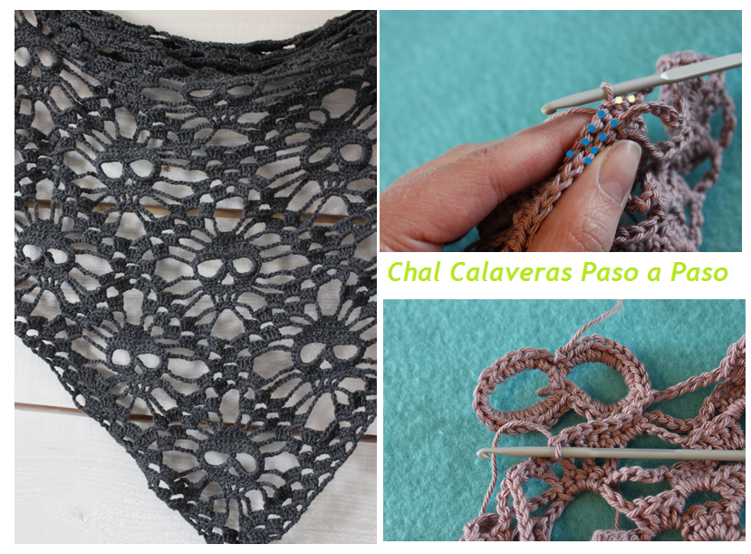 Patrones Crochet: Chal de Calaveras de Crochet Tutorial   Chal ...