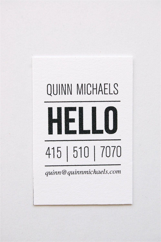 Love a simple take on a business card // Quinn: Letterpress Calling ...