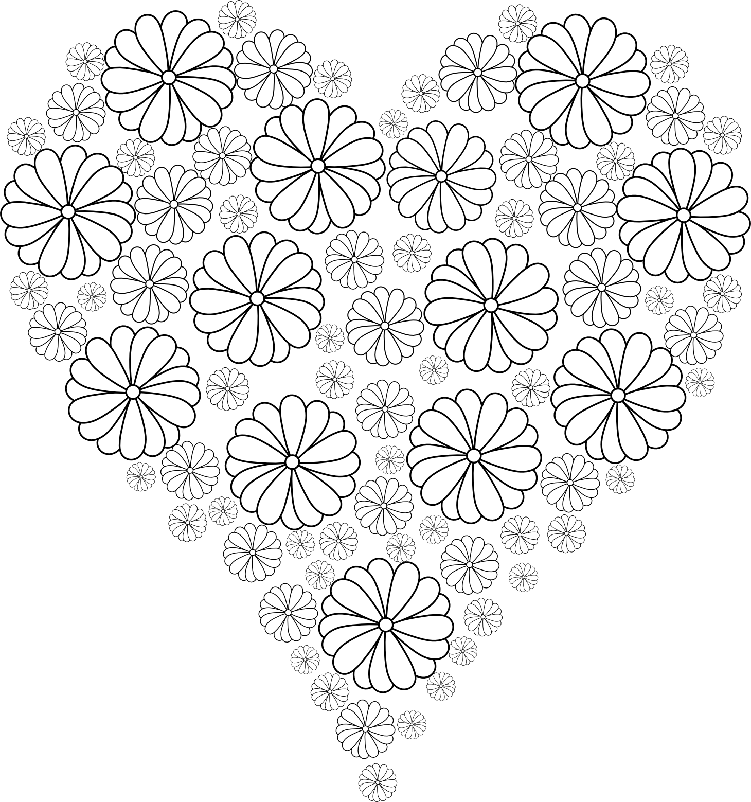 Adulting coloring pages ~ Coeur en fleurs | Mandala | Pinterest | Coloriage, Dessin ...