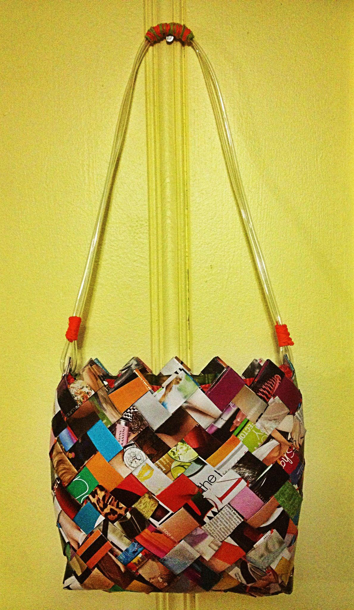 Woven Magazine Purse Paper Candy Bags Handmade Newspaper Weaving