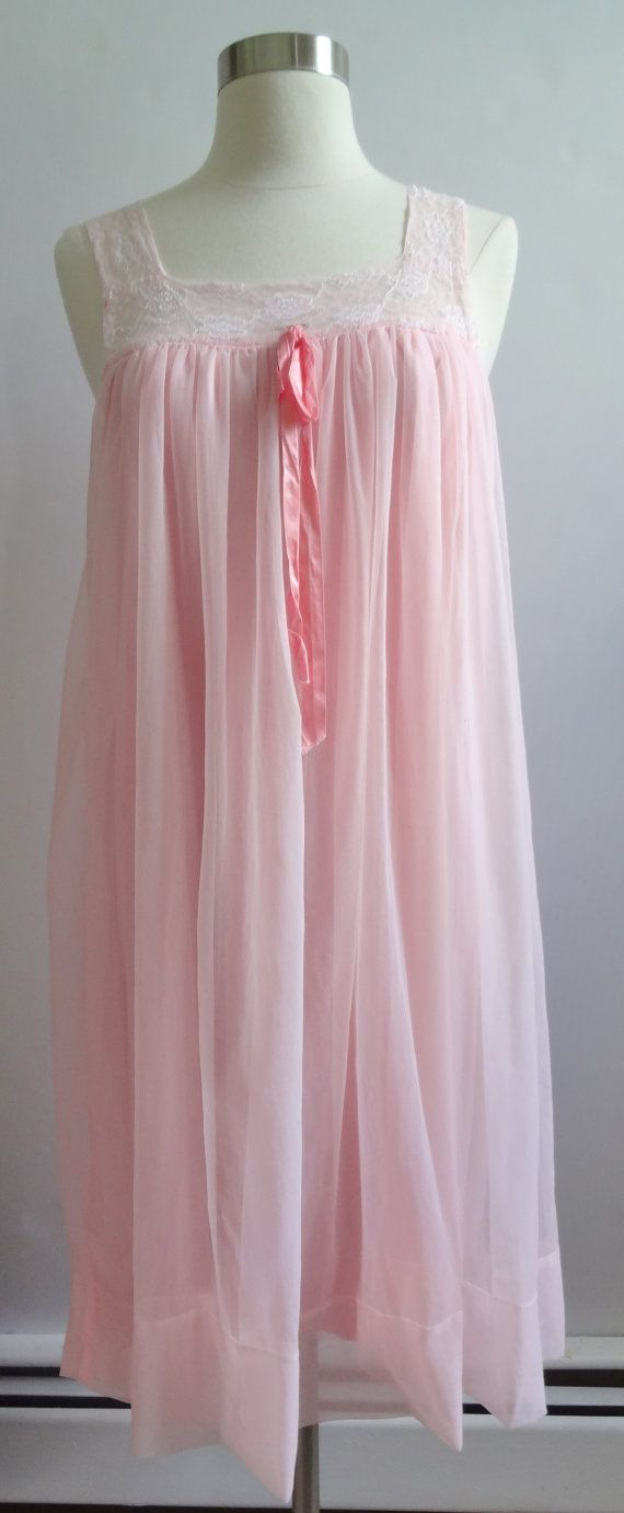 Vintage 1950s Chiffon Babydoll Pink Nightgown Size Large / Extra ...