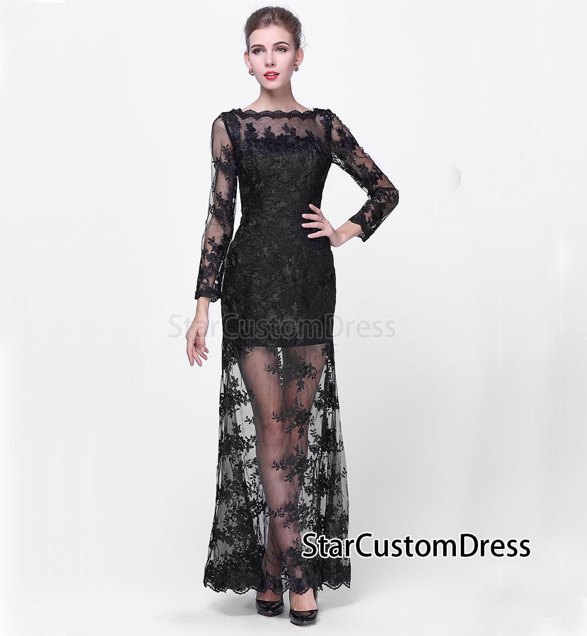 Lace bridesmaid dress long black prom dress lace open v back long