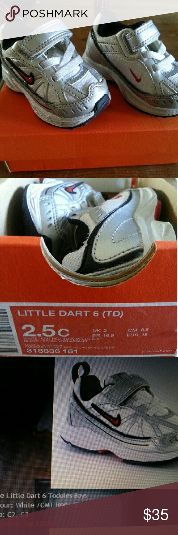 Nike Little Dart Infant Baby Shoes 2.5 Excellent Condition! White/Red/Black/