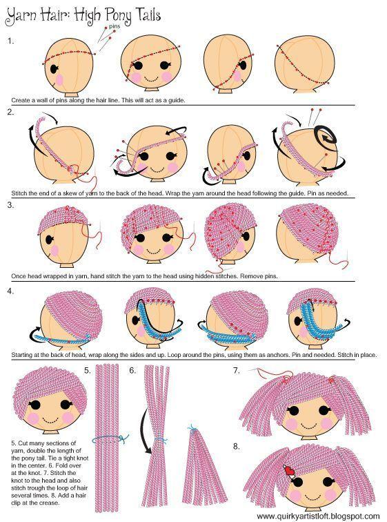 How to do Amigurumi Hair - Tutorial ❥ 4U // hf #amigurumitutorial