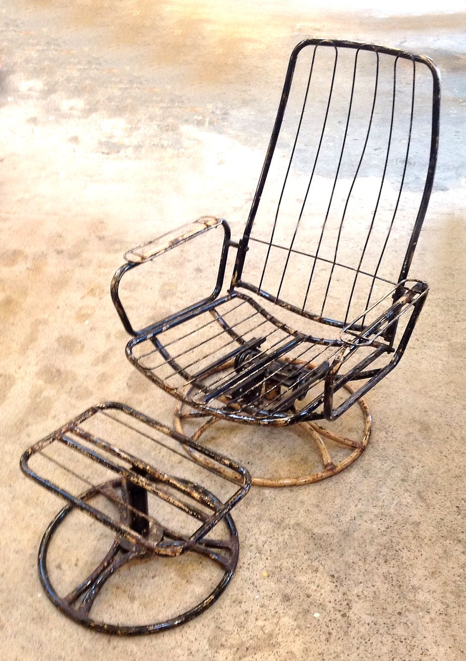 Exceptional Vintage Iron Chair And Ottoman