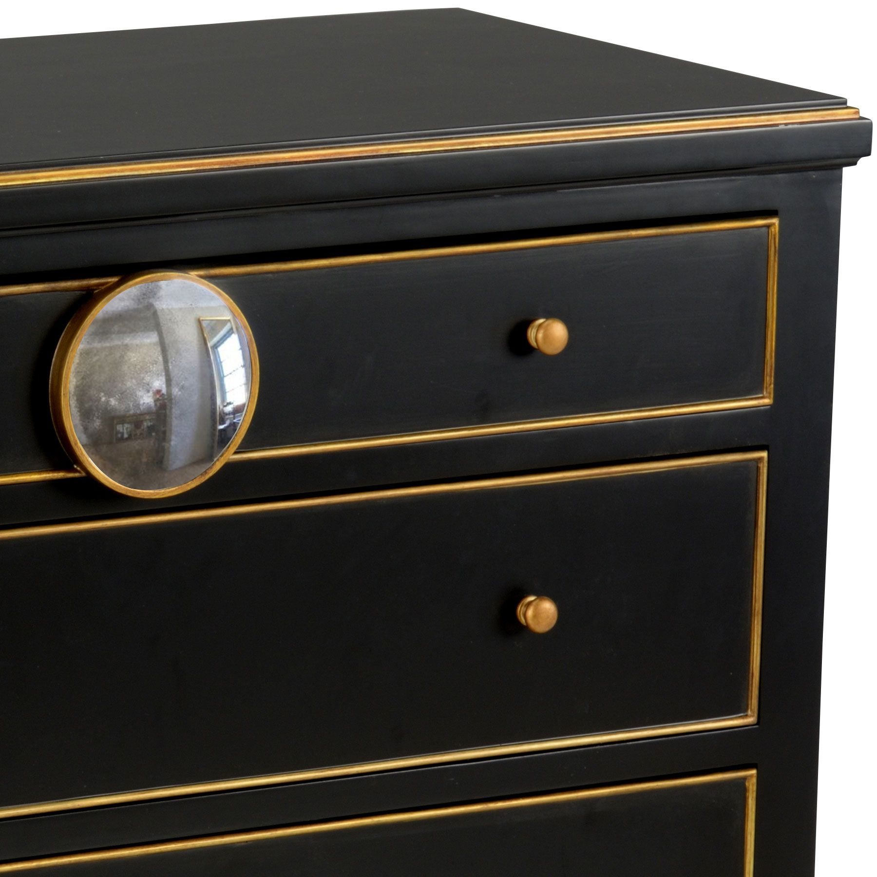 love the convex mirror on this black chest hand painted wooden with anti bedroom furniture painting antique gold full bed design
