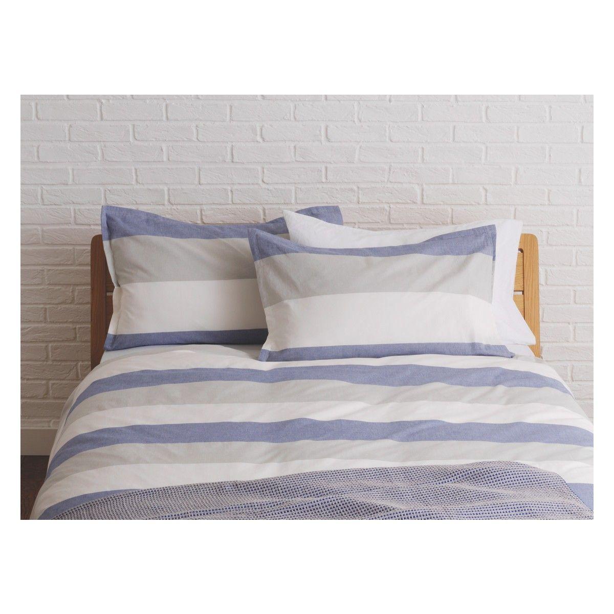 Boston Blue And Grey Stripe Kingsize Duvet Cover