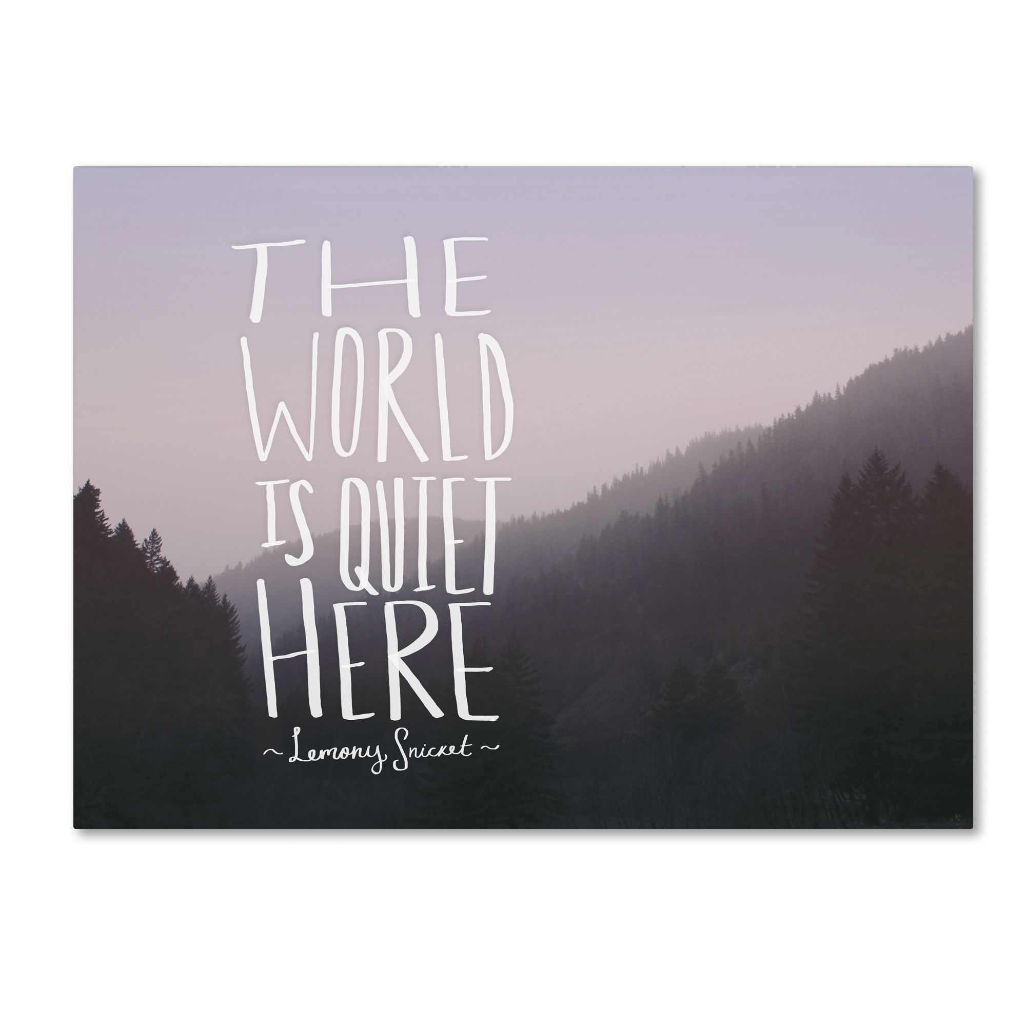 This ready to hang, gallery-wrapped art piece features a mountainous landscape and a quote about the world. Leah Flores brings together her love of photography and illustration to create adventuresome