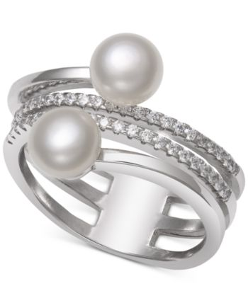 6mm Freshwater Pearl Sterling and Fine silver ring