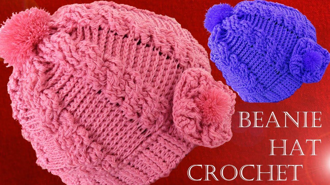 Como tejer gorro boina a Crochet o Ganchillo trenzas en relieve ...