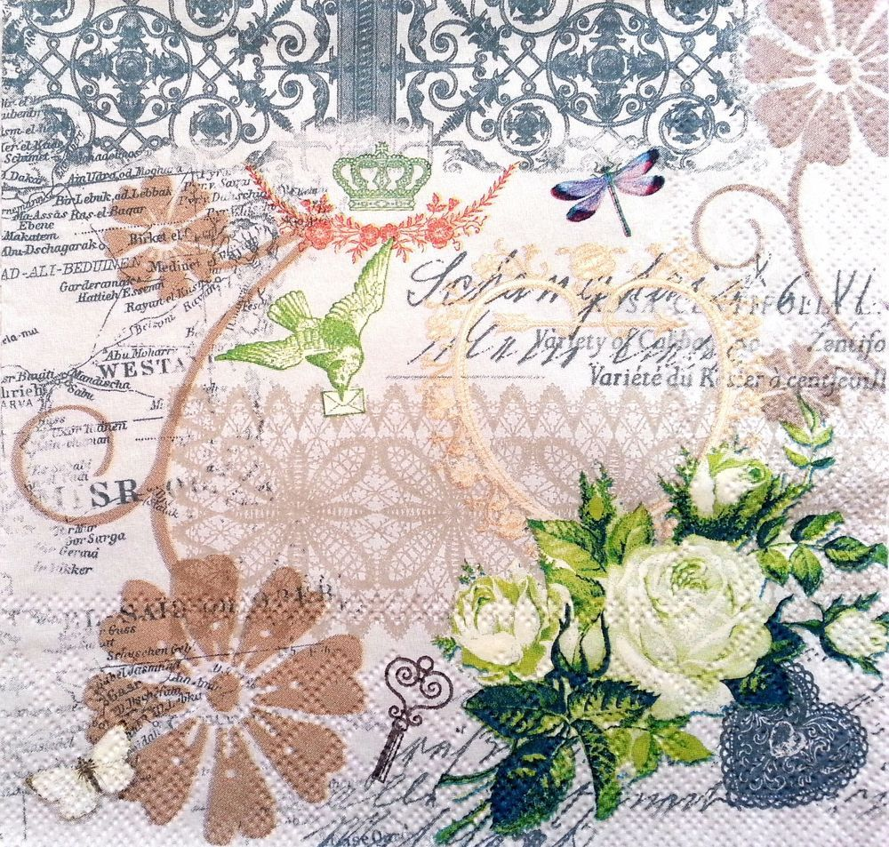Decopatch A Flowers for Decoupage Party 4 Single Vintage Paper Napkins Lunch