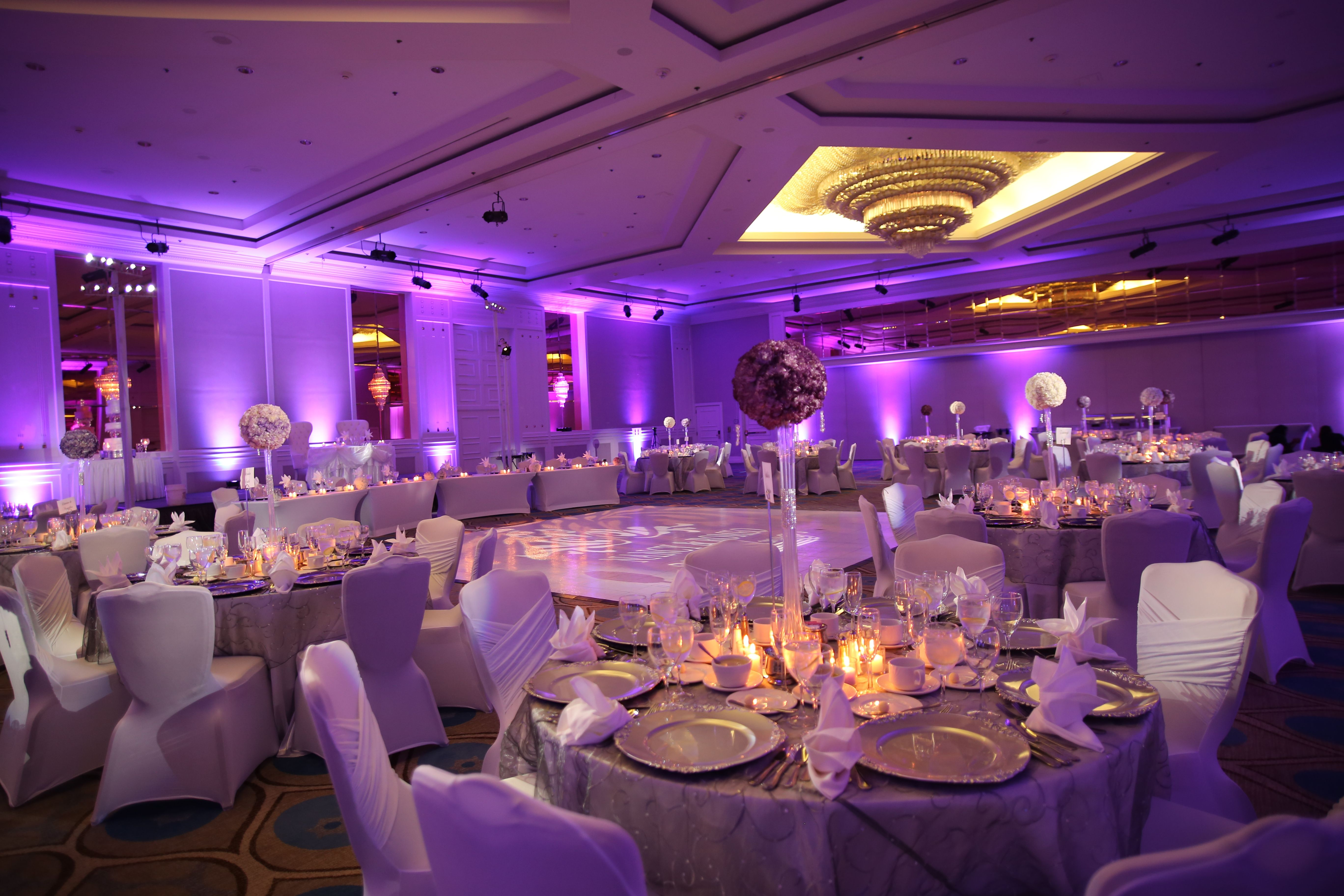 Lavender Uplighting with Pin Spots Wedding themes, Lilac