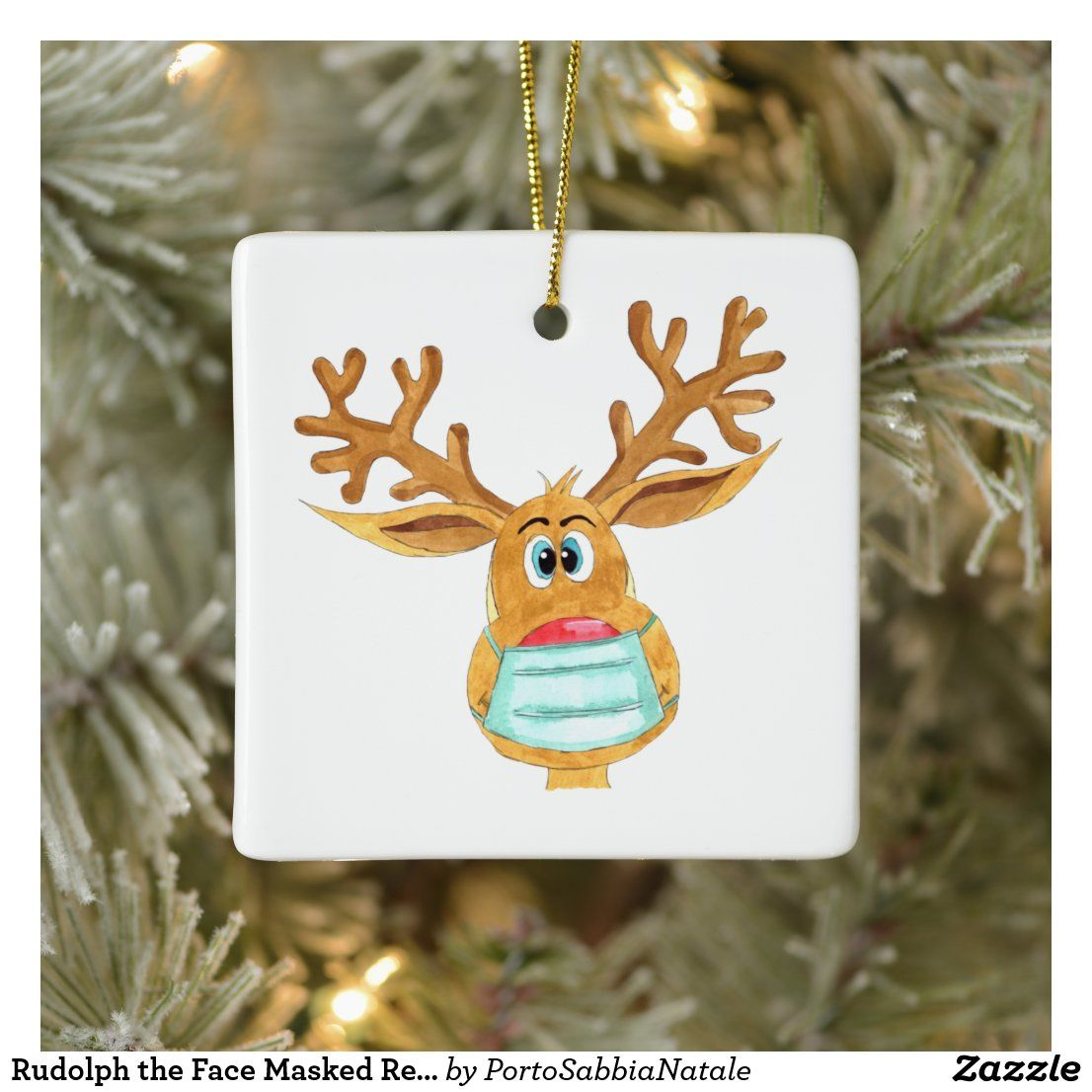 Rudolph The Face Masked Reindeer Ceramic Ornament Zazzle Com Custom Holiday Card Christmas Humor Ornaments