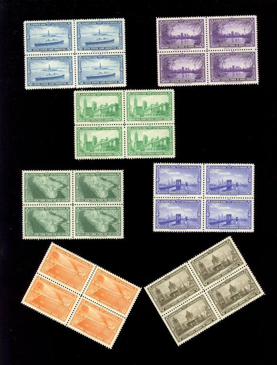 28 Stamps 1939 7 MNH Block Lot New York Worlds Fair by Pikurpie