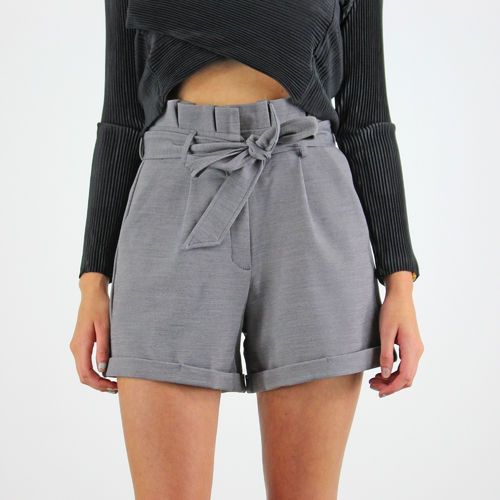 Glamorous Grey High Waisted Tie Belt Side Pocket Turn Up Tailored ...