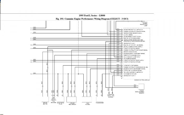 10+ 93 Ford L8000 Cummins Diesel Engine Ecm Wiring Diagram