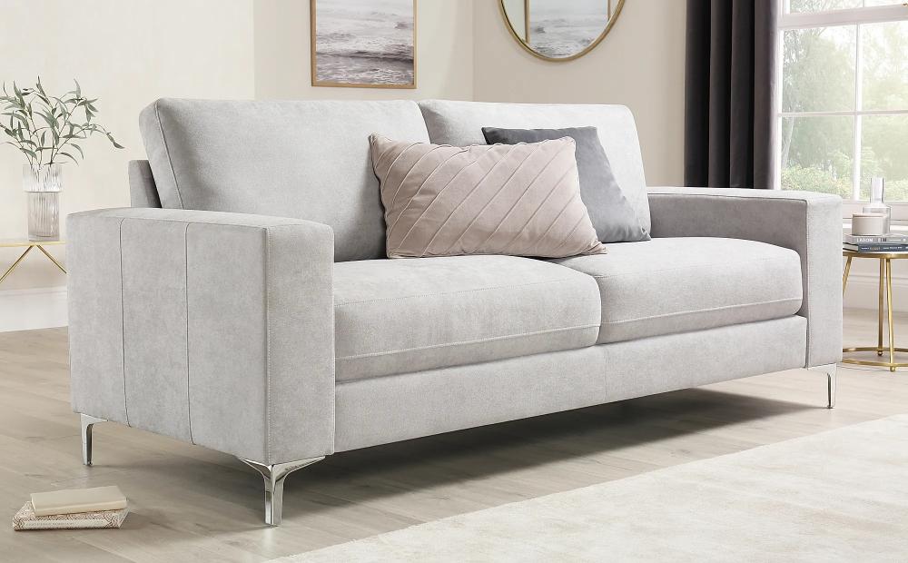 Baltimore Dove Grey Plush Fabric 3 Seater Sofa Furniture