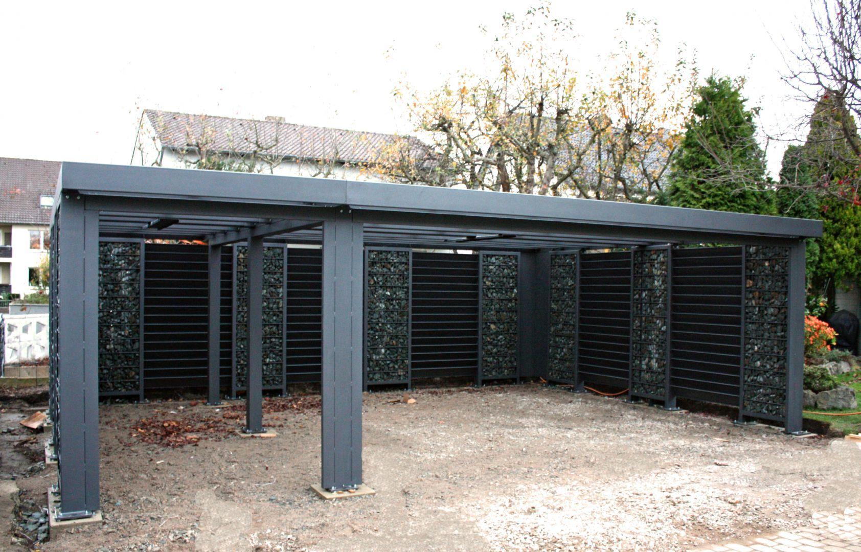 Gabionen Carport gabionen carport steelmanufaktur vorgarten house