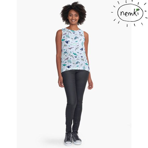 Ocean Patterned Contrast Tank by nemki on Etsy