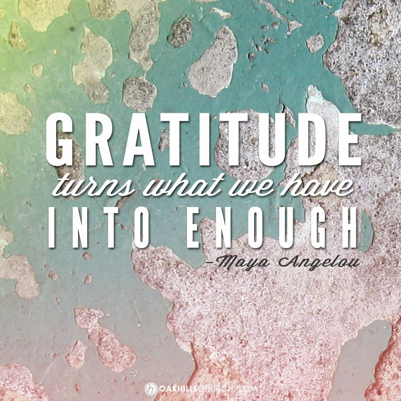 Gratitude Turns What We Have Into Enough. Maya Angelou