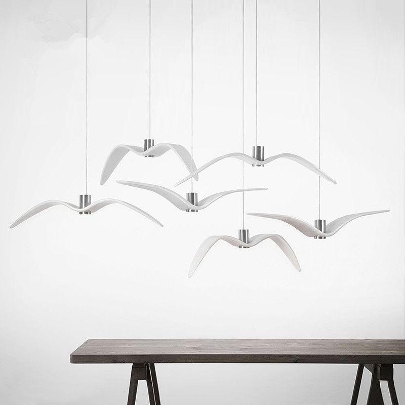 Nordic Creative Seagull Pendant Lights Black White LED Pendant L& Bar Dinning Room Suspension luminaire Kitchen  sc 1 st  Pinterest & Nordic Creative Seagull Pendant Lights Black White LED Pendant Lamp ...