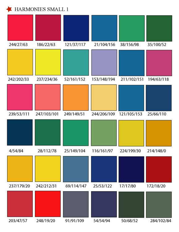 Printable RGB Color Palette Swatches -Color matching system for - sample html color code chart