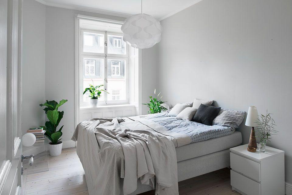 schlichtes Schlafzimmer in weiß und grau mit Pflanze als grüner - schlafzimmer weiß grau