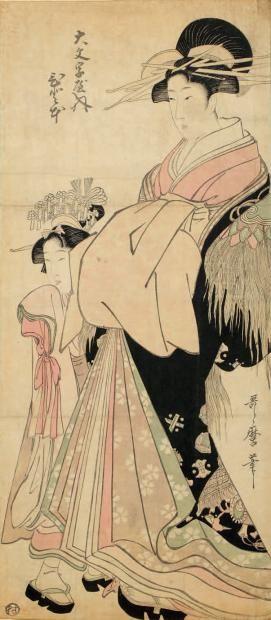 Kitagawa Utamaro Double oban tate-e, oiran debout accompagnée de sa kamuro.