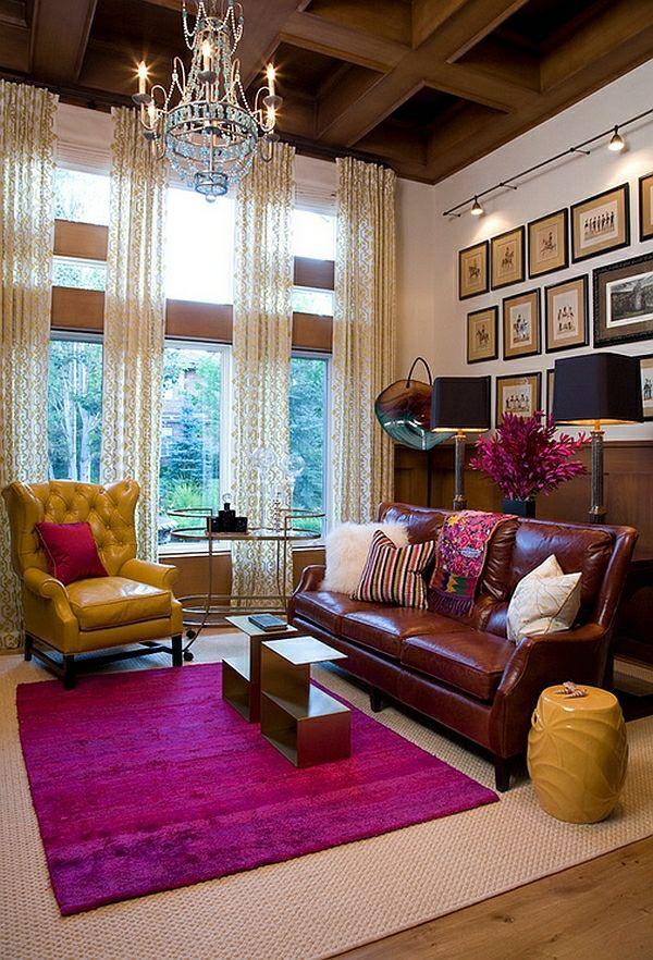 modernes wohnzimmer design einrichtung rosa heißes gelb sitzecke ...