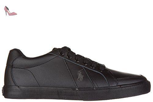 Polo Ralph Lauren chaussures baskets sneakers homme en cuir hugh noir EU 41  A85 Y0471 RHDBPA0001 eb360c0494e